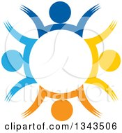 Clipart Of A Teamwork Unity Circle Of Colorful People Cheering Or Dancing 51 Royalty Free Vector Illustration