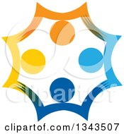 Clipart Of A Teamwork Unity Circle Of Colorful People Cheering Or Dancing 52 Royalty Free Vector Illustration