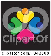 Clipart Of A Teamwork Unity Circle Of Colorful People Cheering Or Dancing Over Black 5 Royalty Free Vector Illustration