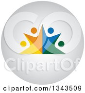 Clipart Of A Teamwork Unity Circle Of Colorful People On A Round Shaded App Icon Button Design Element Royalty Free Vector Illustration