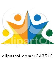 Clipart Of A Teamwork Unity Group Of Colorful People Cheering 10 Royalty Free Vector Illustration