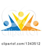 Clipart Of A Teamwork Unity Group Of Colorful People Cheering 11 Royalty Free Vector Illustration