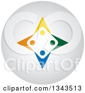 Clipart Of A Teamwork Unity Circle Of Colorful People On A Round Shaded App Icon Button Design Element 3 Royalty Free Vector Illustration
