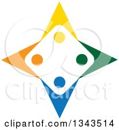 Clipart Of A Teamwork Unity Group Of Colorful People Forming A Star Royalty Free Vector Illustration
