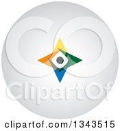 Clipart Of A Teamwork Unity Circle Of Colorful People On A Round Shaded App Icon Button Design Element 4 Royalty Free Vector Illustration