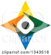Clipart Of A Teamwork Unity Group Of Colorful People Forming A Star 2 Royalty Free Vector Illustration