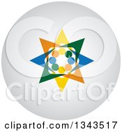 Clipart Of A Teamwork Unity Group Of Colorful People Cheering Or Dancing On A Shaded Circle App Icon Button Design Element 4 Royalty Free Vector Illustration