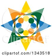 Clipart Of A Teamwork Unity Circle Of Colorful People Cheering Or Dancing 61 Royalty Free Vector Illustration