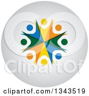 Clipart Of A Teamwork Unity Group Of Colorful People Cheering Or Dancing On A Shaded Circle App Icon Button Design Element Royalty Free Vector Illustration
