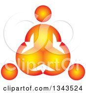 Clipart Of A Teamwork Unity Circle Of Three Gradient Orange People Royalty Free Vector Illustration