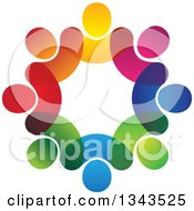 Clipart Of A Teamwork Unity Circle Of Colorful People 18 Royalty Free Vector Illustration