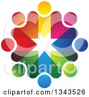 Clipart Of A Teamwork Unity Circle Of Colorful People 19 Royalty Free Vector Illustration