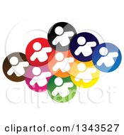 Clipart Of A Teamwork Unity Group Of White People In Colorful Circles Royalty Free Vector Illustration