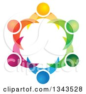 Clipart Of A Teamwork Unity Circle Of Colorful People 36 Royalty Free Vector Illustration