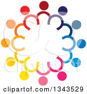 Clipart Of A Teamwork Unity Circle Of Colorful People 50 Royalty Free Vector Illustration