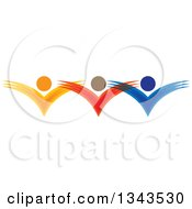 Clipart Of A Teamwork Unity Group Of Colorful People Cheering 5 Royalty Free Vector Illustration