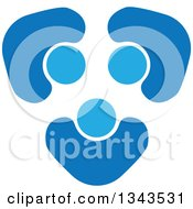 Clipart Of A Teamwork Unity Circle Of Blue People Cheering Or Dancing 7 Royalty Free Vector Illustration