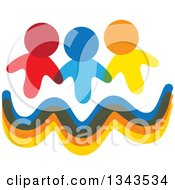 Clipart Of A Teamwork Unity Group Of Colorful People Over Waves Royalty Free Vector Illustration