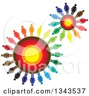 Clipart Of Teamwork Unity Gears Of Colorful People 2 Royalty Free Vector Illustration by ColorMagic