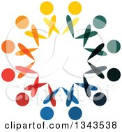 Clipart Of A Teamwork Unity Circle Of Colorful People 72 Royalty Free Vector Illustration