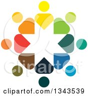 Clipart Of A Teamwork Unity Circle Of Colorful People 73 Royalty Free Vector Illustration
