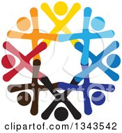 Clipart Of A Teamwork Unity Circle Of Colorful People Cheering Or Dancing 73 Royalty Free Vector Illustration