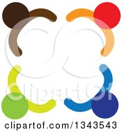 Clipart Of A Teamwork Unity Circle Of Colorful People 79 Royalty Free Vector Illustration