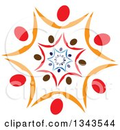 Clipart Of A Teamwork Unity Circle Of People Cheering Or Dancing Within Other People Royalty Free Vector Illustration