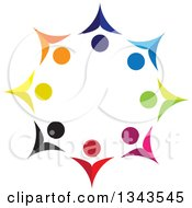 Clipart Of A Teamwork Unity Circle Of Colorful People Cheering Or Dancing 7 Royalty Free Vector Illustration