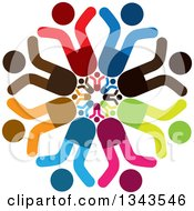 Clipart Of A Teamwork Unity Circle Of Colorful People Cheering Or Dancing 6 Royalty Free Vector Illustration