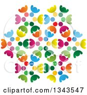 Clipart Of A Teamwork Unity Design Of Colorful People Royalty Free Vector Illustration