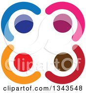 Clipart Of A Teamwork Unity Circle Of Colorful People 35 Royalty Free Vector Illustration