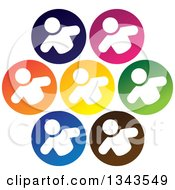 Clipart Of A Teamwork Unity Group Of White People In Colorful Circles 2 Royalty Free Vector Illustration