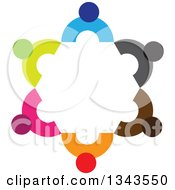 Clipart Of A Teamwork Unity Circle Of Colorful People 11 Royalty Free Vector Illustration