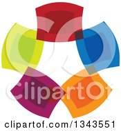 Clipart Of A Colorful Circle Of Abstrac Rectangular People Royalty Free Vector Illustration