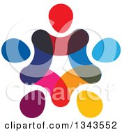 Clipart Of A Teamwork Unity Circle Of Abstract Colorful People 2 Royalty Free Vector Illustration
