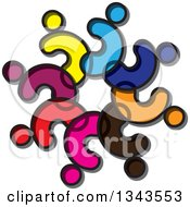 Clipart Of A Teamwork Unity Circle Of Abstract Colorful People 3 Royalty Free Vector Illustration