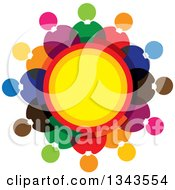Clipart Of A Teamwork Unity Circle Of Colorful People Around Yellow Royalty Free Vector Illustration