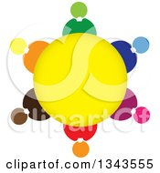 Clipart Of A Teamwork Unity Circle Of Colorful People Around Yellow 2 Royalty Free Vector Illustration