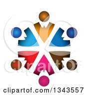 Clipart Of A Teamwork Unity Circle Of Colorful People 2 Royalty Free Vector Illustration