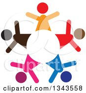 Clipart Of A Teamwork Unity Circle Of Colorful People Cheering Or Dancing Royalty Free Vector Illustration
