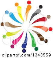 Clipart Of A Teamwork Unity Circle Of Abstract Colorful People Royalty Free Vector Illustration