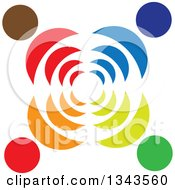 Clipart Of A Teamwork Unity Circle Of Colorful People With Signals Royalty Free Vector Illustration