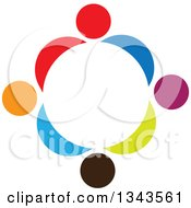 Clipart Of A Teamwork Unity Circle Of Colorful People 3 Royalty Free Vector Illustration