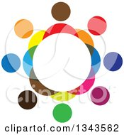 Clipart Of A Teamwork Unity Circle Of Colorful People 4 Royalty Free Vector Illustration