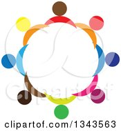 Clipart Of A Teamwork Unity Circle Of Colorful People 5 Royalty Free Vector Illustration