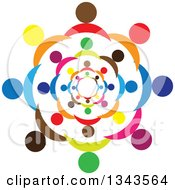 Clipart Of A Teamwork Unity Circle Of Colorful People 6 Royalty Free Vector Illustration
