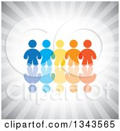 Clipart Of A Teamwork Unity Group Of Colorful People Over Gray Rays Royalty Free Vector Illustration