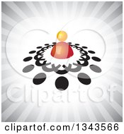 Clipart Of A Teamwork Unity Circle Of Black People Around An Orange Leader Over Gray Rays Royalty Free Vector Illustration