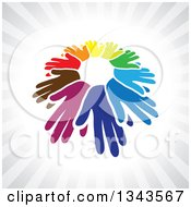 Clipart Of A Circle Of Colroful Hands Symbolizing Teamwork And Unity Over Gray Rays Royalty Free Vector Illustration